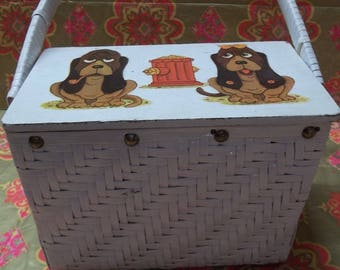Vintage White Wicker Sewing Box/ Purse Decoupaged Dogs