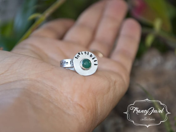 Green agate ring, silver ring, handmade engraving, engraved ring, custom writing, custom ring, made in Italy, handmade ring, birthday gift