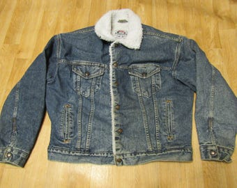 Vintage Levis Sherpa Jacket Large medium wash 90s USA