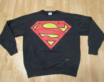 Vintage Superman Sweater Sweat shirt 1990s 90s Big S Logo