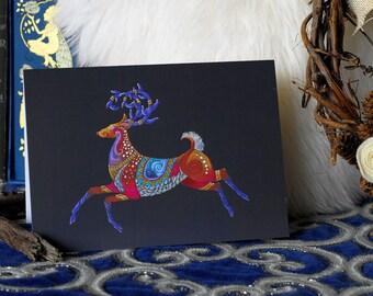 Reindeer Christmas Card, Christmas Reindeer Greeting card, Colourful Christmas Card, Festive Greeting Card, Happy Stag Card