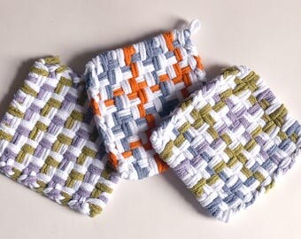 """Set of 3: Bright color, woven pot holders, hot pads - """"Autumn Landscape"""""""