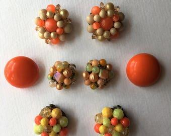 Cluster Earring Lot Clip on Orange Destash Vintage Pearl Bead Button 1950's Repurpose Repair