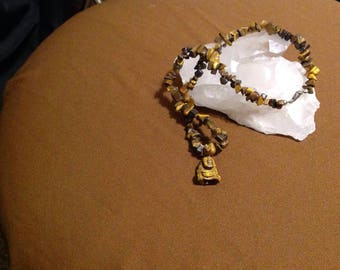Tiger eye gemstone necklace w/ Buddha charm