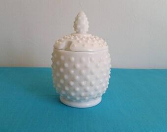 Fenton Hobnail White Milk Glass (Sugar or Jelly) Jar