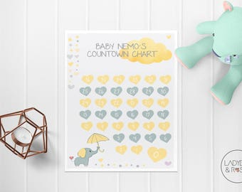 Personalised Pregnancy Countdown Chart, Pregnancy Countdown, Baby Countdown Chart, Pregnancy Chart, Baby Chart, Magnetic Pregnancy Chart