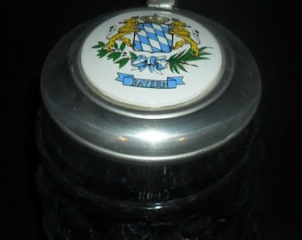 Vintage German BMF Glass Beer Stein~Bayern~Bavaria with Bavarian Coat of Arms~German Glass Stein~Oktoberfest Beer Stein