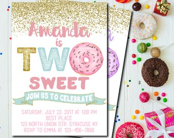 Two Sweet Donut Birthday Invitation, Two Sweet invitation, Donut Party Birthday Invitation, Donut Invitation, Pastel Donuts ANY AGE - 1769