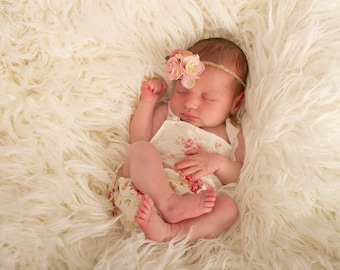 Newborn  romper,photography prop,lace over-layer bib,ivory,pink floral,cotton halterneck,