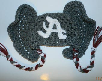 Bama /Hat/Alabama/Crimson Tide/Football/ Fan/Elephant Crochet 0-3 Months/Boy/Girl