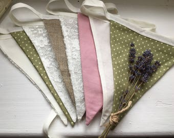 Handmade Hessian, lace, pink and green Bunting. Rustic wedding theme, green and pink wedding hanging decoration. Available to HIRE