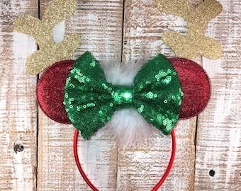 Christmas Minnie Ears, Minnie Mouse Ears, Reindeer Minnie Ear Headband, Girls Birthday Headband, Christmas Headband