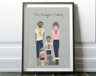 Custom family print, personalised family portrait, family print, personalised print, custom print, family gift, personalised family print