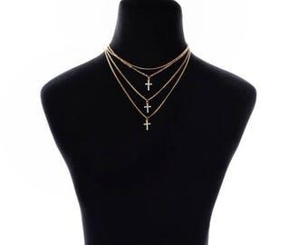 LIVI CHOKER || Layered Choker, Cross Choker, Layered Necklace, Crosses