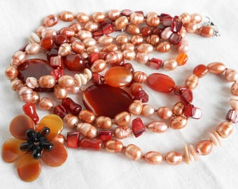 Freshwater Pearl, Carnelian & Shell Necklace, 3 Strands, Knotted Between Beads, Pink and Earth Tones