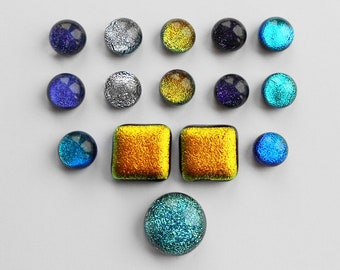 Mixed Dichroic Glass Cabochons x 15, 7mm, Fused Glass Cabs, Jewellery, Crafts, Mosaic