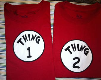 Thing 1 and Thing 2 Iron on Applique Patch