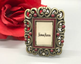 Jay Strongwater picture frame with red Enamel and Swarovski Crystal,embellished miniture photo frame