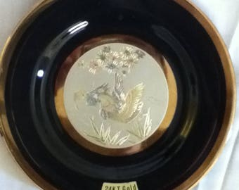 The Art of Chokin Plate with Ducks on a Pond