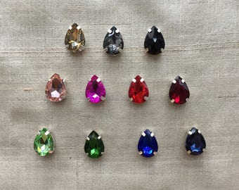 Teardrop Pear Stained Glass Buttons,Colourful Pear shape Rhinestones Red Green Blue Pink Charms,Sewing Jewellery Flat Back Bead,2.5 cm,2 pcs