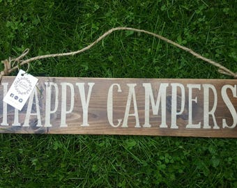 Happy Campers | Camping Wood Sign | Trailer Decor | Hanging Wood Sign | Camping Decor | Summer Decor | Made in Canada