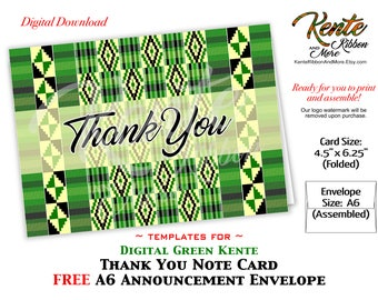 "DIY - Printable Digital Green Kente Thank You Card - Trim size 4.5""x6.25"" - Free A6 Announcement Style Envelope - JPG and PNG Download"