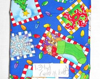 Fabric -1 3/4yd piece-Christmas/Xmas/Santa/Reindeer/Lights/Tree/Snowflake/JOY/HOHOHO/stocking/peace/candle/toys (#315) (end of bolt)