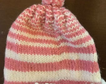 Knit Baby Hat--Pink and White