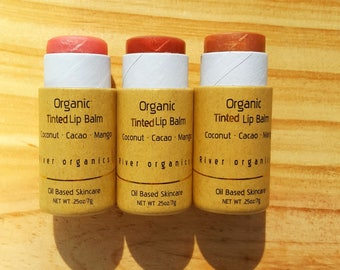 Trio of Organic Tinted Lip Balms | Your Choice of Colors