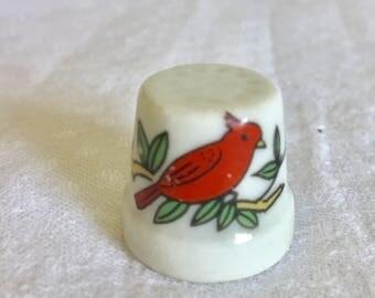 Vintage 1980's ceramic thimble. Red bird