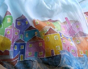 Hand painted long silk folk art scarf