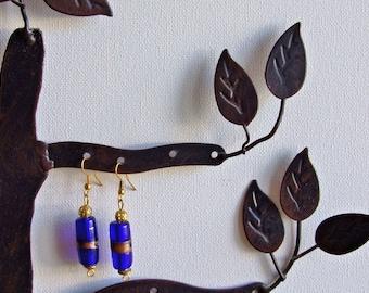 Blue & gold glass earrings