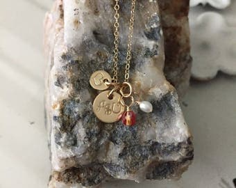 Tiny Gold Filled Heart my College Necklace