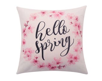 Watercolor flower throw pillow cover Floral wreath pillow cover Hello spring decorative pillow case Quote cushion case Sofa home decor 18x18