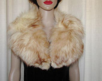 "Très beau collet  cranté de fourrure  de renard golden vraie fourrure / Vintage beautiful  golden  fox fur  notched collar real fur 37"" X 5"""