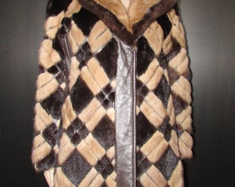 Vintage  superbe manteau de fourrure de vison 2 tons/ Vintage superbe  2 tones  mink fur coat   sz medium bust42