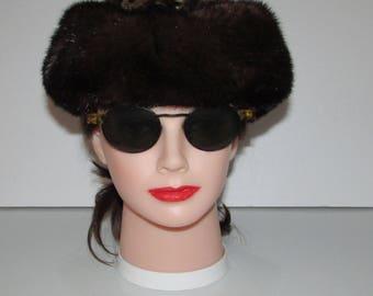 """Superbe chapeau de véritable fourrure de vison brun  moyen dessus spotted/Superbe medium brown real mink fur hat spotted top 20""""  VITTORIO"""