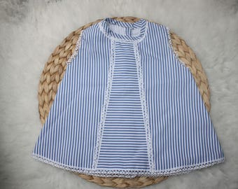 Blue striped dress with lace