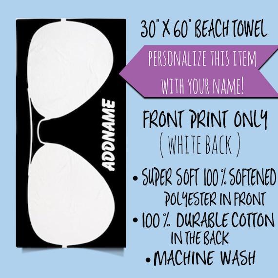Personalized Name Monogram Beach Towel,Black and White Sunglasses Personalized Beach Towel, Summer Custom Beach Towel,Gift for Him/Her Towel
