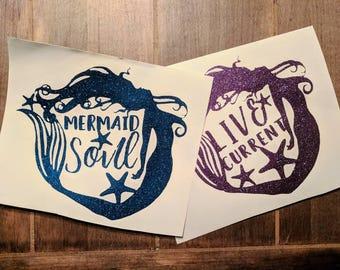 Mermaid, Glitter vinyl decal