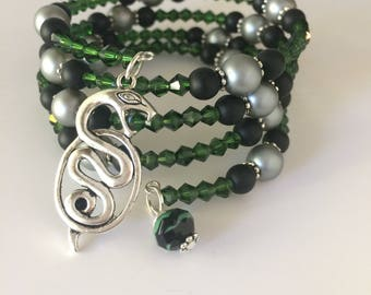 Slytherin Bracelet, Slytherin House Bracelet, Harry Potter Bracelet, Harry Potter Jewelry, Slytherin Jewelry, Snake Bracelet, Slytherin