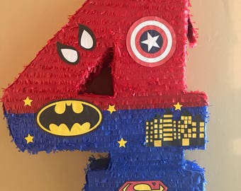 Superheroes Number Pinata