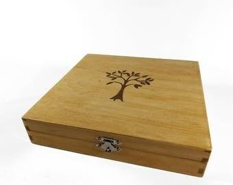 Tree Mahogany  & Walnut Inlay Keepsake Box - Birthday gift - Wedding gift - Keepsake Box