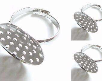 10 Silver Plated Adjustable Sieve Pad Beading Ring Base Blanks Findings