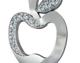 Sterling Silver Apple Charms With Crystal PK1 PK5