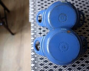 Vintage Le Creuset blue / vintage le creuset Cocottes / le creuset Cocottes / le creuset 15 / cast iron Cocottes / le creuset cast iron