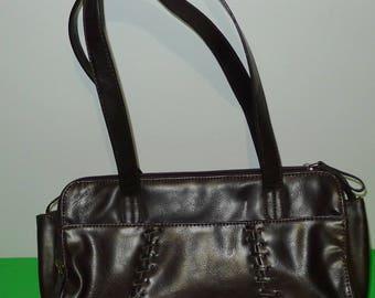 Great vintage dark brown faux leather  CABRELLI  handbag - in very good condition. Sac Cabrelli brun , simili-cuir.