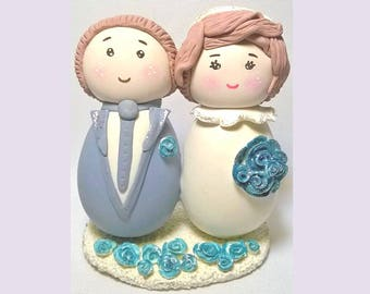 Wedding cake toppers, cake toppers cold porcelain, wedding topper porcelaine froide, wedding blue, wedding cake topper polymer clay, wedding