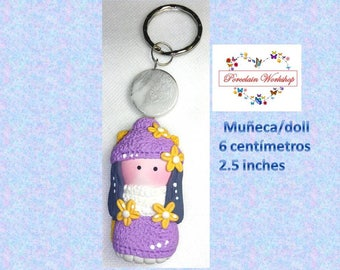 Keychain cold porcelain, keychain dolls, clay chain, pendant doll, ornament doll cold porcelain, porcelaine froide doll