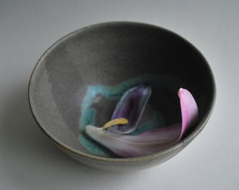 Stoneware Ceramic Bowl with a Grey and Turquoise Glaze Finish